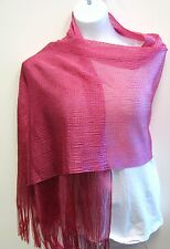Hot Pink Shawl Metallic Scarf Wrap Glitter Party Evening Formal Fringe  Prom