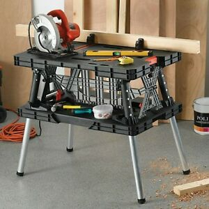 Keter DIY Folding Work Table Bench with Adjustable Height and Clamp's