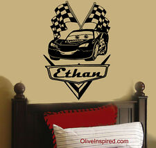 NEW Personalized disney CARS Lightning McQueen Vinyl Wall Decal Nursery Art
