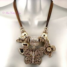Large Designer Gold Plt Butterfly Floral Crystal Charms Couture Catwalk Necklace