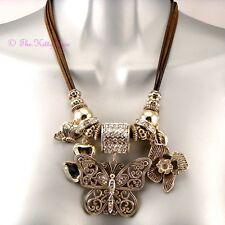 Grand Créateur Or Plt Papillon Floral Cristal Breloque Couture Passerelle