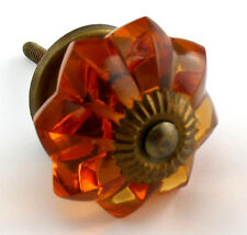 6 pc Retro Amber Glass Kitchen Cabinet Knob Drawer Hardware Furniture Handle K85