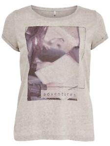 43/24 NEU ONLY Damen T-Shirt onlMILLA S/S SOMETIMES/ADVENTURES BOX ES Gr. M grau