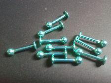 Per Labbra Piercing Gioielli Titanio 18g 12mm Totale 3mm Sfera Colore Verde Bite