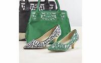 Ashro Violet Shoe Black Emerald Green Heel Formal Church Embellished Pump 7 8 10