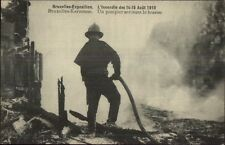 Fire Fighter in Action Bruxelles Belgium 1910 Exposition Postcard