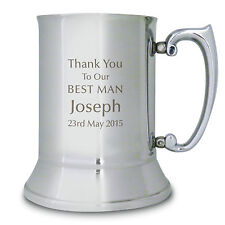 Personalised Engraved Best Man Tankard - Thank You, Wedding Gifts, Brother