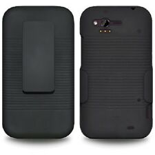 BLACK HARD SHELL CASE COVER + BELT CLIP HOLSTER + SCREEN PROTECTOR FOR HTC RHYME