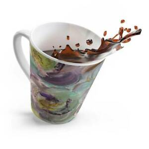 Floral Destiny Design Abstract Art Latte Mug  in Lilac, Purple, Green, Yellow, G