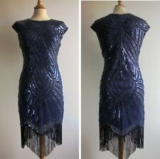 Blue Beaded 20s Vintage Style Dress Flapper Art Deco Great Gatsby Size 12 or 14