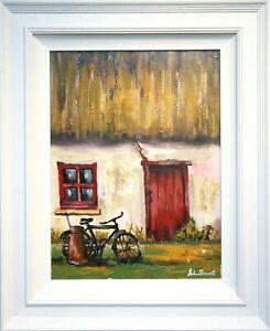 Original Oil Painting Irish Art RURAL IRISH THATCHED COTTAGE RED DOOR, IRELAND