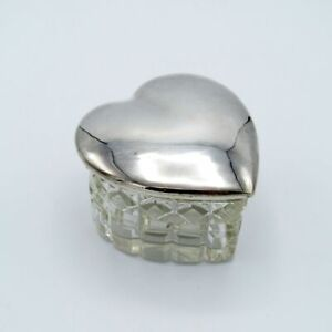 Antique Silver Top Jar with Cut Glass Base