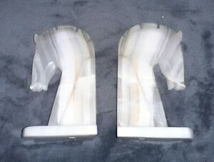 Pair of Trojan Horse Head Bookends Hand Carved Onyx Vintage Decorative Art Deco