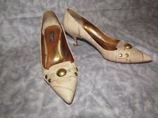 Dolce & Gabbana Leather Pumps Low Heel Stud Beige & Gold 37