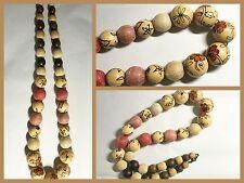 "Vintage Wood Bead Necklace 24"" Long - Boho Fashion Jewelry 80s"