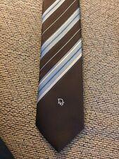 Christian Dior Cravates Tie Brown And Blue Stripe Dior Logo