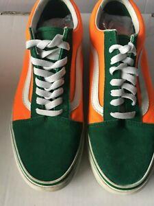 Vans Off the Wall Mens Skater Sneakers 9.5 Bright Verdant Green/Neon Orange
