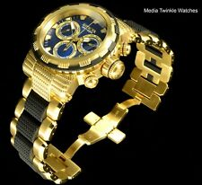 Invicta 46mm Specialty Capsule Quartz Chronograph Blue Dial 18k Gold Tone Watch