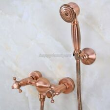 Antique Red Copper Wall Mounted Bathroom Hand Held Shower Faucet Set yna295