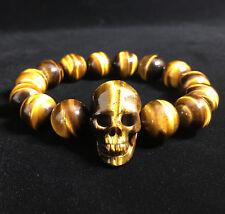 Golden Tigers Eye Carved Crystal Skull stretch Beaded Bracelet