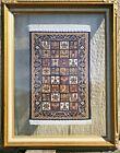 "Vintage Mini Tapestry Rug Turkish Silk Hand Woven Framed Glass 18.5"" x 14.5"""