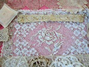 ANTIQUE LACE Victorian Sham Metallic Trim Doilies Crochet Vtg Pillow Cover Lot