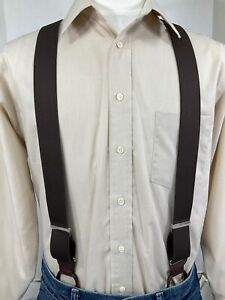 """New, Men's Brown, Dressy Button-On, XL, 1.5"""",Suspenders / Braces, Made in USA"""