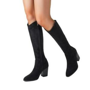 Womens Gothic Knee-high Boots Suede Fabirc Block Heel Pointy Toe Casual Shoes D