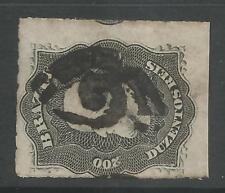 """timbres-Brésil. 1877. 200r Gris noir. SG: 54a. D'occasion partiel Numéral """"5.1cm"""