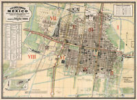 Historic 1886 Map General Plan of Administrative Divisions of Mexico City Poster