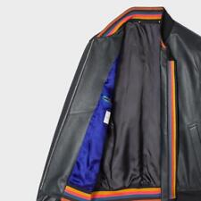 Paul Smith BLACK LEATHER BOMBER JACKET WITH STRIPES DETAILING BNWT Small