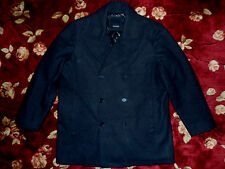 $298 Elie Tahari Mens Black Wool Pea Coat Size Small S Authentic Jacket Blazer