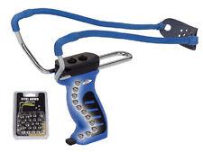 Sport-Schleuder blau Zwille mit Griffmagazin + 30 Stahlkugeln Steinschleuder