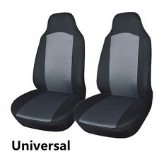 2pcs Universal Car Front Seat Covers Protection Built-in Seat Belt Gray & Black