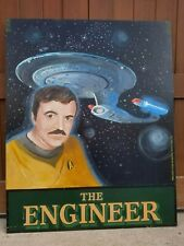 "English Handpainted Pub Sign ""The Engineer"" Scotty & The Enterprise Star Trek"
