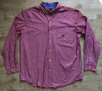 Retro Chaps Ralph Lauren Mens Red White Striped Shirt L Long Sleeved 100% Cotton