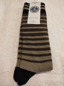 Life Is Good Green / Brown Striped Heavy Gauge Crew Socks Size 9-12  **NEW**