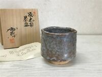 Y1587 CHAWAN Shino-ware signed box Japanese bowl pottery Japan tea ceremony