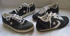 Lot 2 CONVERSE Trainer Black Nylon Leather Low Sneakers Shoes M 5.5 W 7.5 1J347