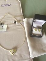 Aurora Jewellery Orkney Heilan Collection Neckwire & Earrings With Gold Detail