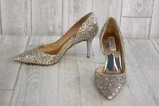Badgley Mischka Daisy D'Orsay Pumps, Women's Size 7, Platino Chunky Glitter
