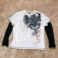 MMA ELITE Mixed Martial Arts Long Sleeved T Shirt Mens 2XL Black White Orange