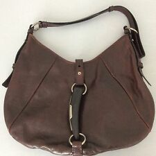 YSL Mombasa Horn Brown Distressed Leather Hobo Bag Authentic