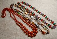 VINTAGE TO NOW ASSORTED ORANGE MULTI COLOR LUCITE BEADED NECKLACE LOT