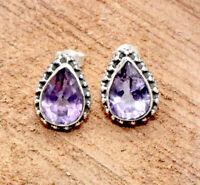 Teardrops Purple Amethyst Solid 925 Sterling Silver Jewelry Stud Earring S-1''