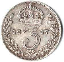 1917 SILVER COIN - THREEPENCE - George V.     #OKTE345