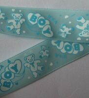 25mm Baby Boy Its a Boy 3 Satin Print Ribbon Cards Cakes  Gifts Hair bows shower