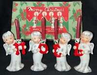 VINTAGE CERAMIC NAPCO 'N O E L' ANGEL CANDLEHOLDERS W/CANDLES & BOX