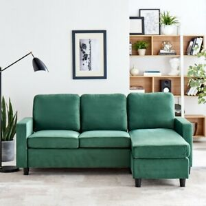 FABULOUS 3 SEATER CORNER SOFA with Reversible Chaise in RICH GREEN VELVET