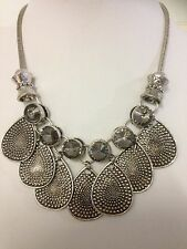 Free Shipping Antique Silver PLated Black Diamond Jewellery Chunky Necklace